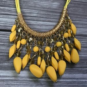 Jewelry - Sunshine yellow beaded statement cord necklace
